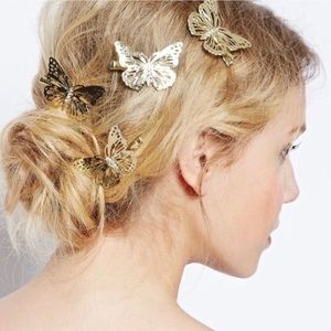 Free People Gold Butterfly Hair Clips w/ 4 Pieces